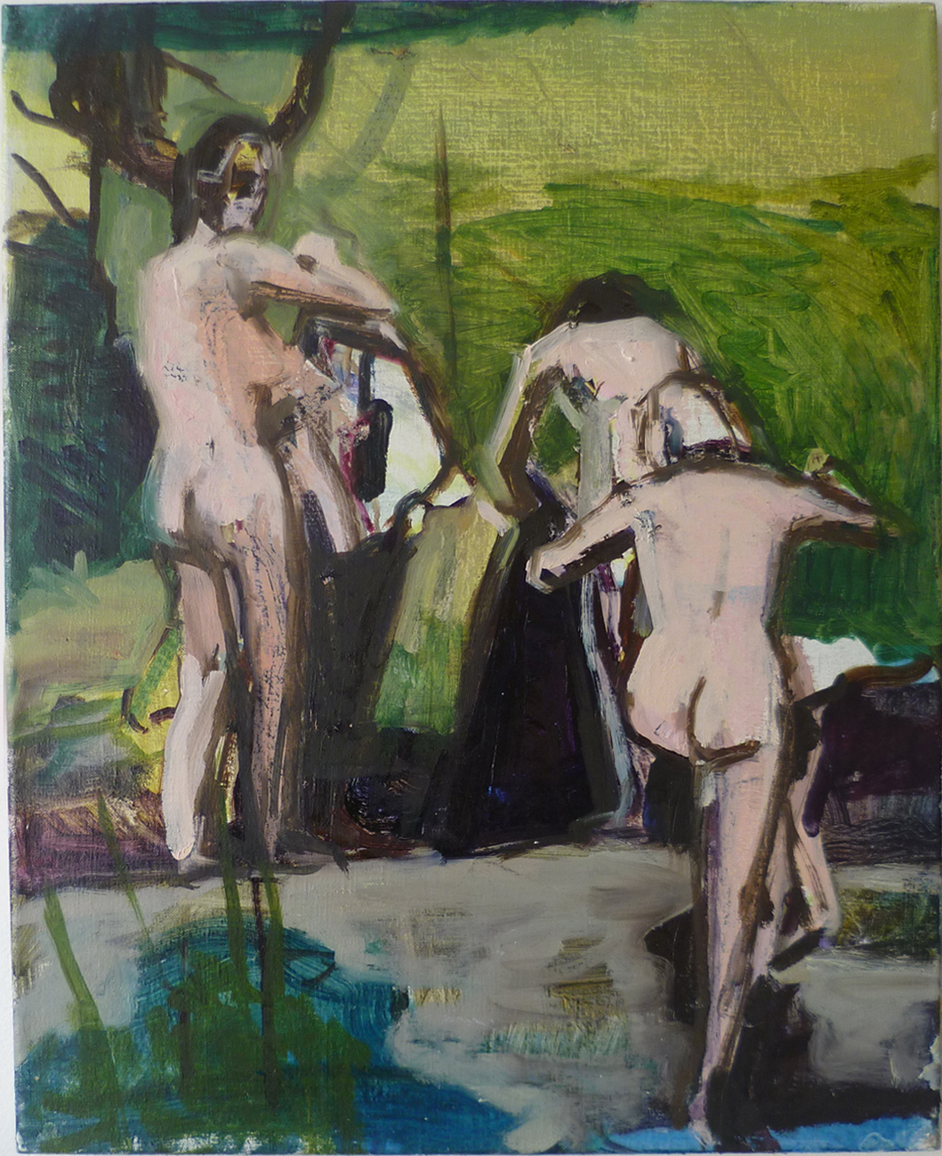 Getting out oil on linen 50.5 x 45.5cm 2014