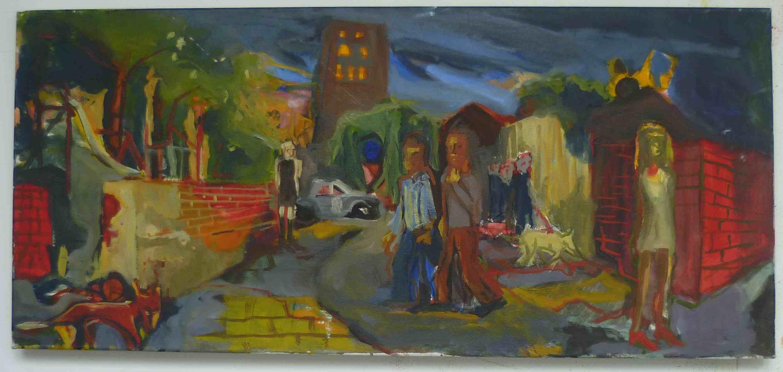 Nightwalk oil on canvas 50 x 95cm (approx) 2009